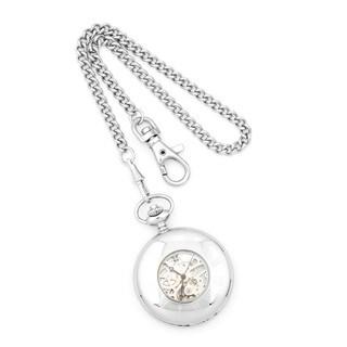 Versil Charles Hubert Solid Stainless Steel Skeleton White Dial Pocket Watch