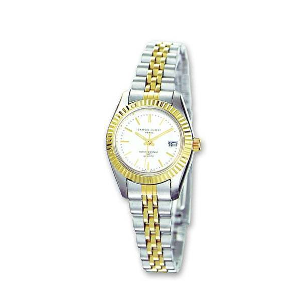 Ladies Charles Hubert Two-tone Stainless Band Silver Dial Watch