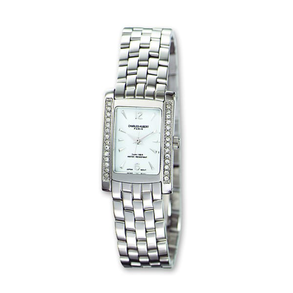 Ladies Charles Hubert Solid Stainless Steel White Dial 20x25mm Watch