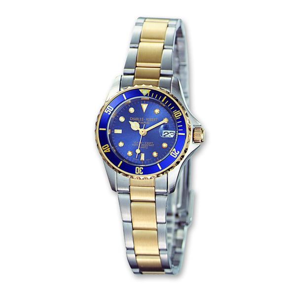 Ladies Charles Hubert Two-tone Silver Blue Dial Watch
