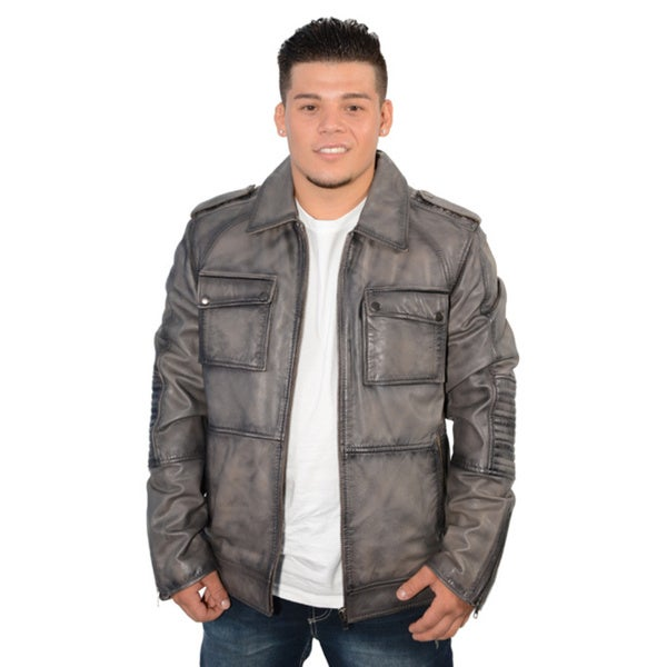 Men's Lambskin Leather Patch Pocket Jacket