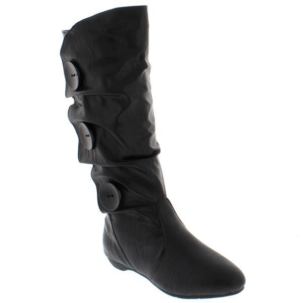 Women's Faux Leather Low Heel Button Boots