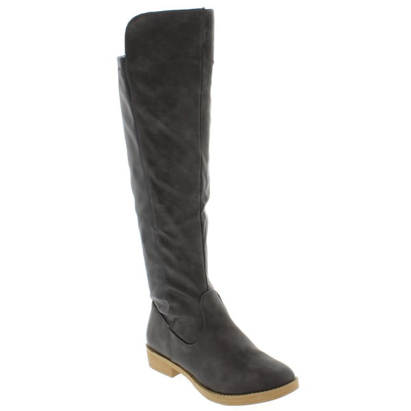 Women's Faux Leather Knee-high Stretch Boots