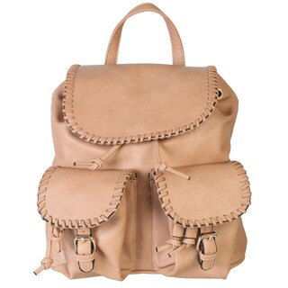 Diophy Leather Indie Backpack Drawstring Purse