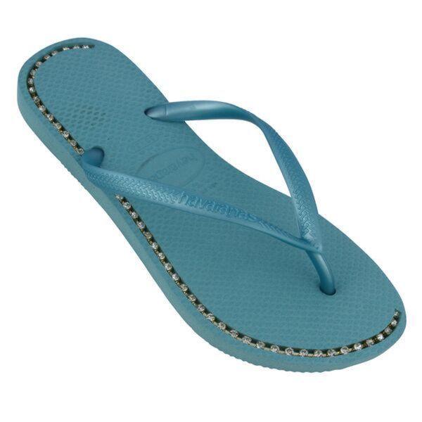 Havaianas Women's Ice Blue Rubber Rhinestone Flip Flops