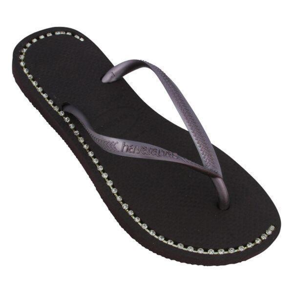 Havaianas Women's Dark Purple Rubber Rhinestone Flip Flops