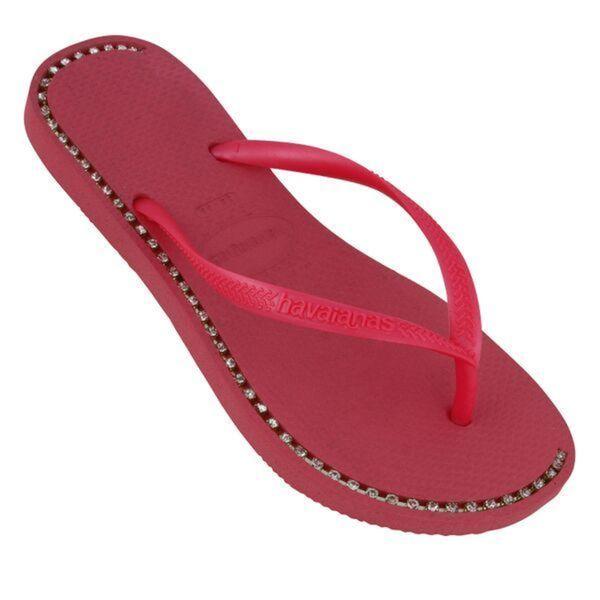 Havaianas Women's Pink Rubber Rhinestone Flip Flops