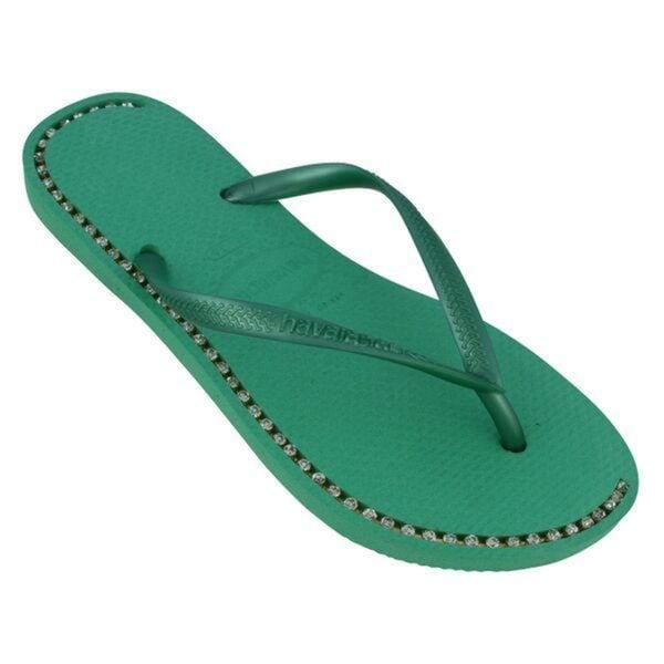 Havaianas Women's Pistachio Green Rubber Rhinestone Flip Flops