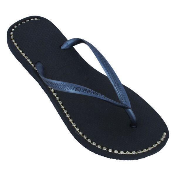 Havaianas Women's Navy Rubber Rhinestone Flip Flops