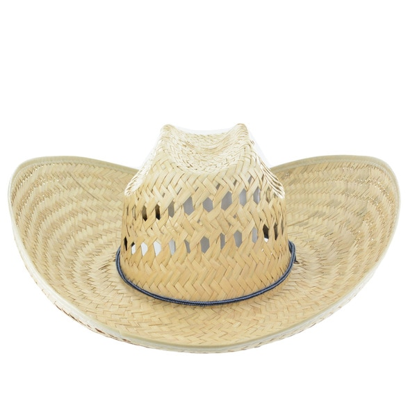 "Faddism 5 1/2"" Wide Brim Straw Cowboy Hat in Beige"