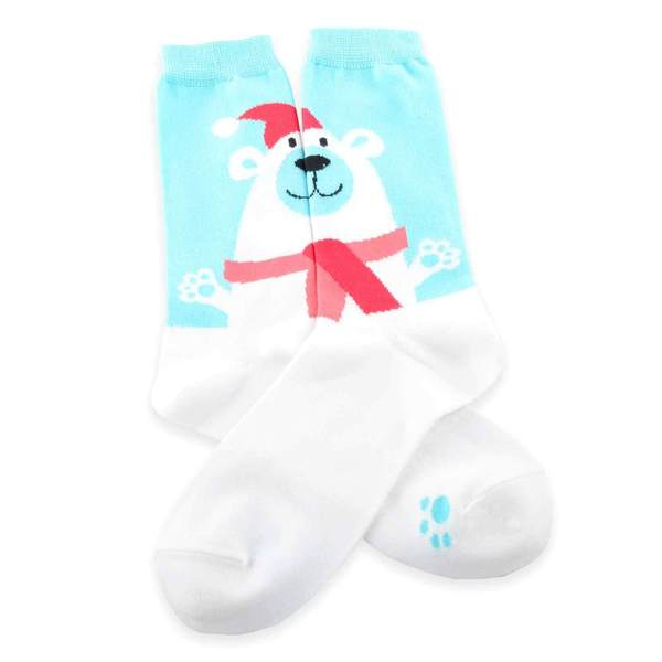TeeHee Women's Polar Bear Head Holiday Crew Socks