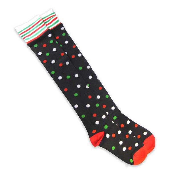 TeeHee Women's Christmas Dots/ Stripes Over the Knee Sock