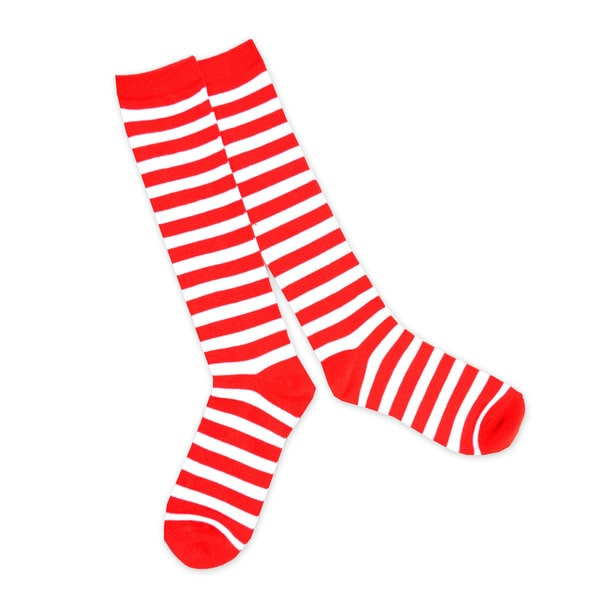 TeeHee Christmas Holiday Rugby Stripe Candy Cane Knee High Socks