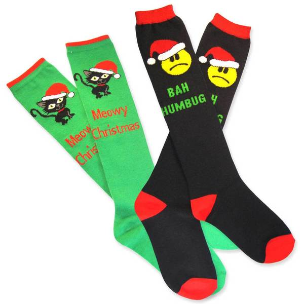Teehee Christmas Holiday Women's Knee High Bah Humbag Socks (Set of 2)