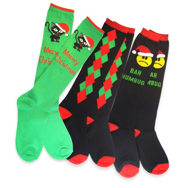 Teehee Christmas Holiday Women's Green Knee High Socks (3 Pairs)