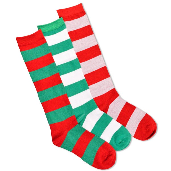 Christmas Holiday Rugby Stripe Candy Cane Knee High Socks (3 Pack)
