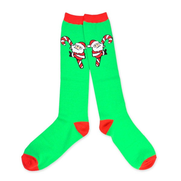 TeeHee Christmas Holiday Women's Santa Candy Cane Knee High Socks