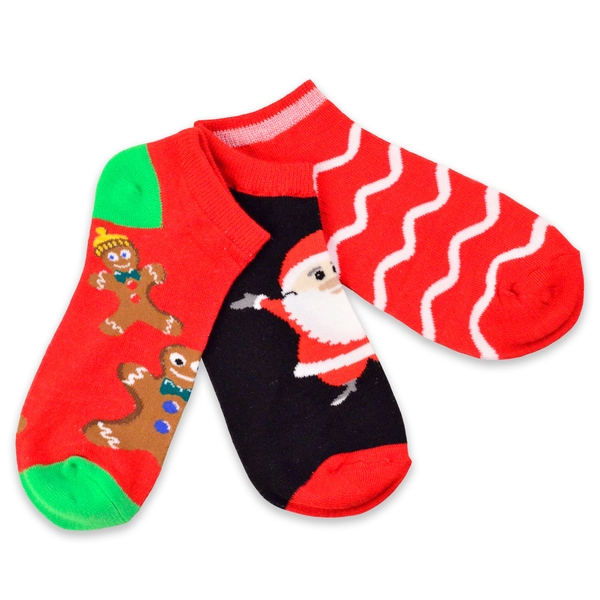 Women's Christmas Holiday Gingerbread Man and Santa Ankle Socks (Pack of 3)