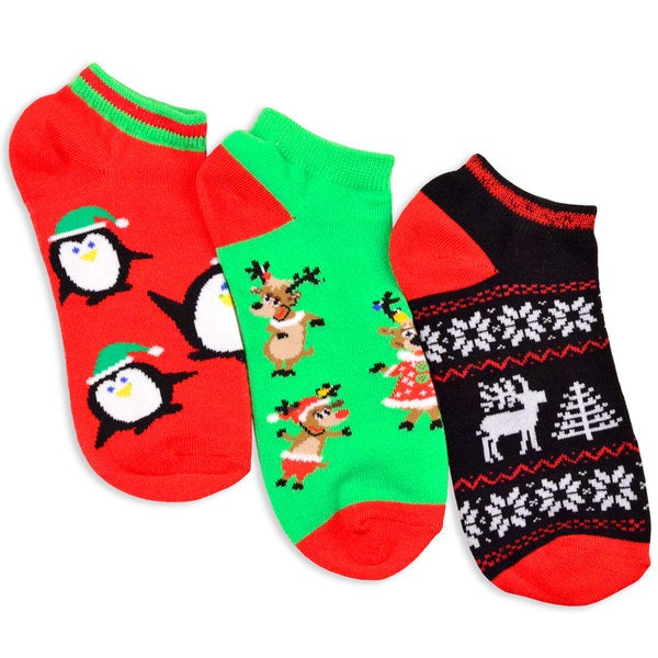 Women's Christmas Reindeer and Penguin Ankle Socks (3 Pack)