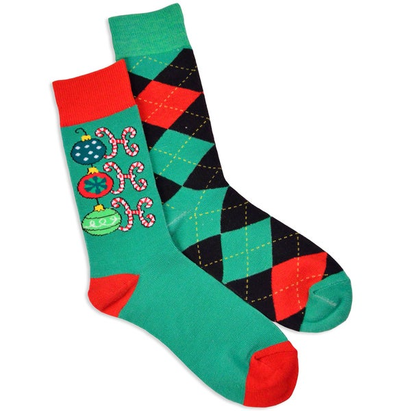 Men's Holiday Argyle Crew Socks (Pack of 2)