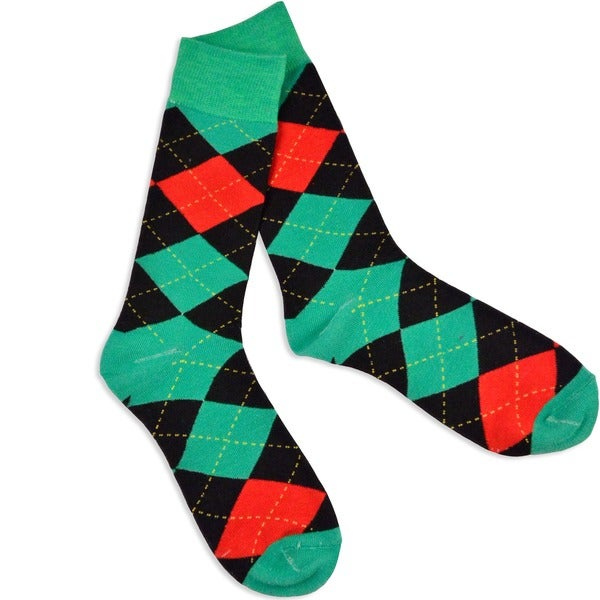 Men's Green/ Red Christmas Argyle Socks