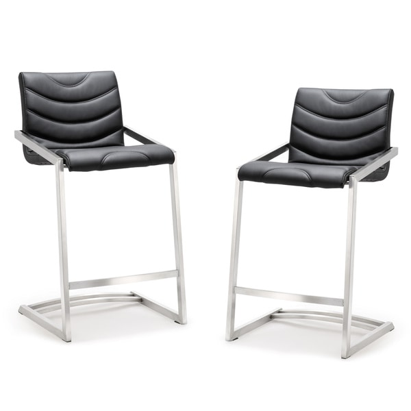 Rio Stainless Steel Eco-leather Counter Stool (Set of 2)