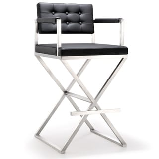 Stainless Steel Black Eco-leather Tufted Back Director Barstool