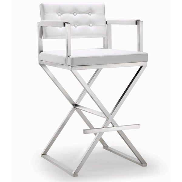 Stainless Steel White Eco-leather Tufted Back Director Barstool