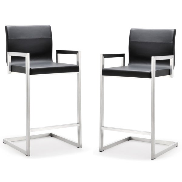 Milano Stainless Steel Eco-leather Upholstered Counter Stool (Set of 2)