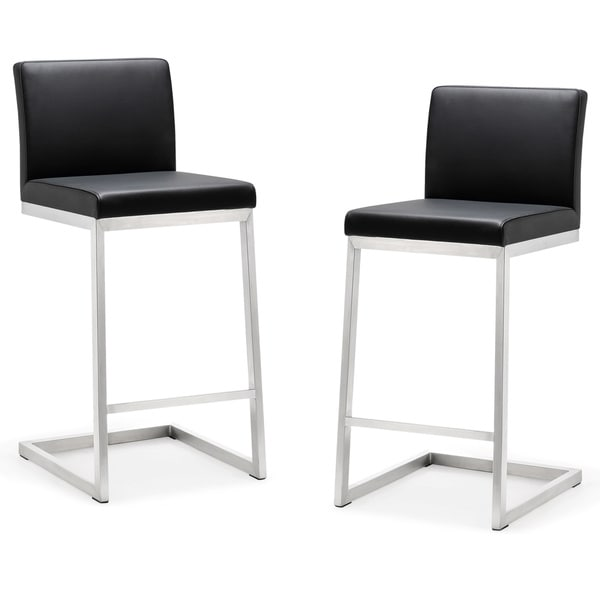 Parma Stainless Steel Eco-leather Counter Stool (Set of 2)