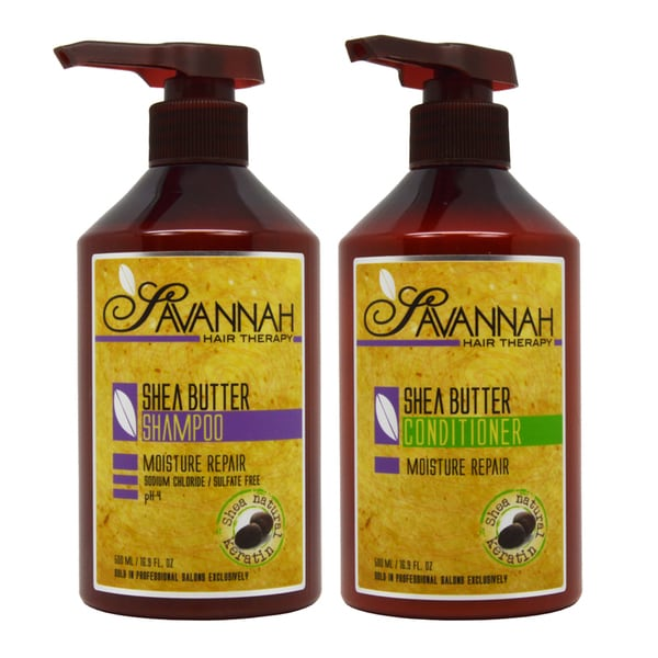 Savannah Hair Therapy Shea Butter Shampoo and Conditioner 16.9-ounce Duo Set