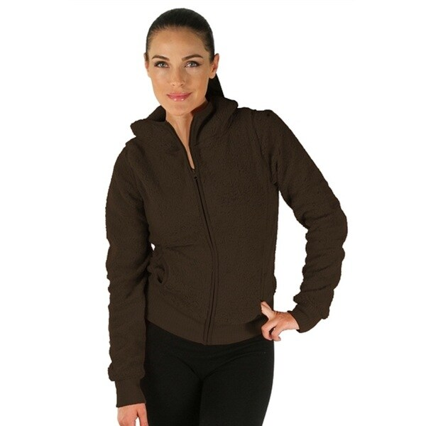 Brown Women's Hooded Fleece Jacket with Zipper