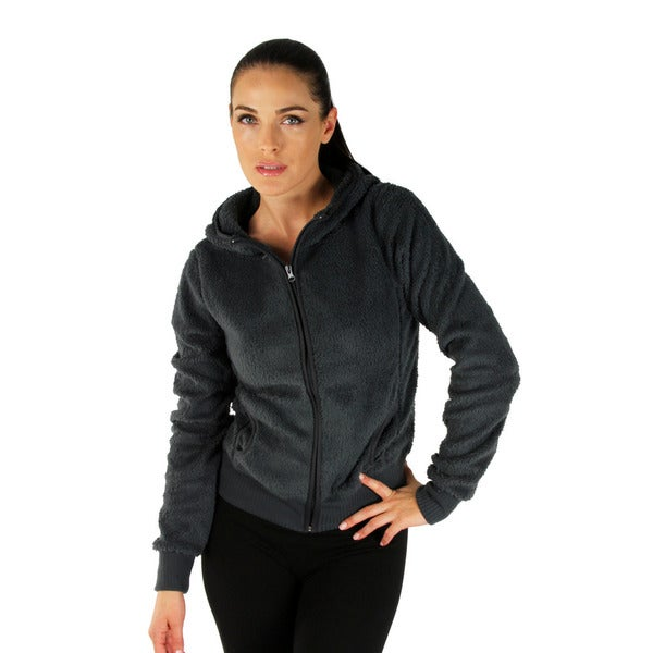 Dark Grey Women's Hooded Fleece Jacket with Zipper