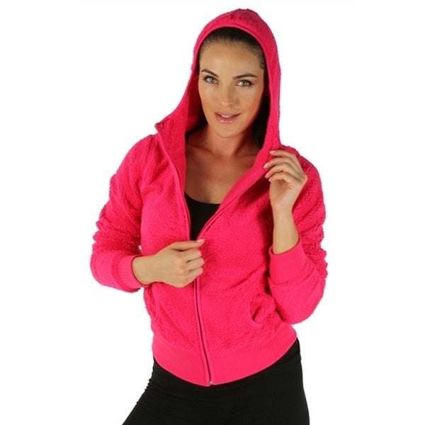 Fuchsia Ladies Hooded Fleece Jacket with Zipper