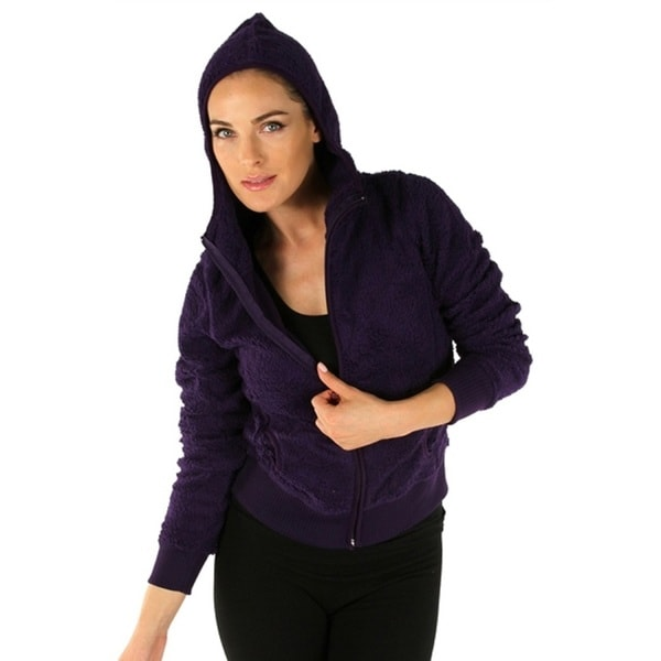 Grape Ladies Hooded Fleece Jacket with Zipper