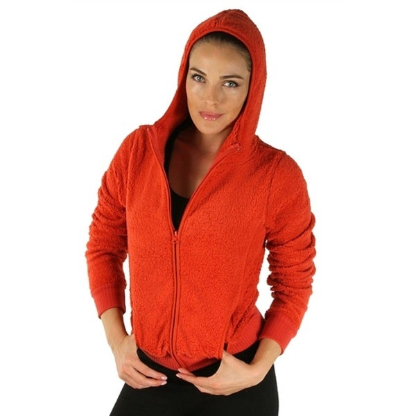 Rust Ladies Hooded Fleece Jacket with Zipper