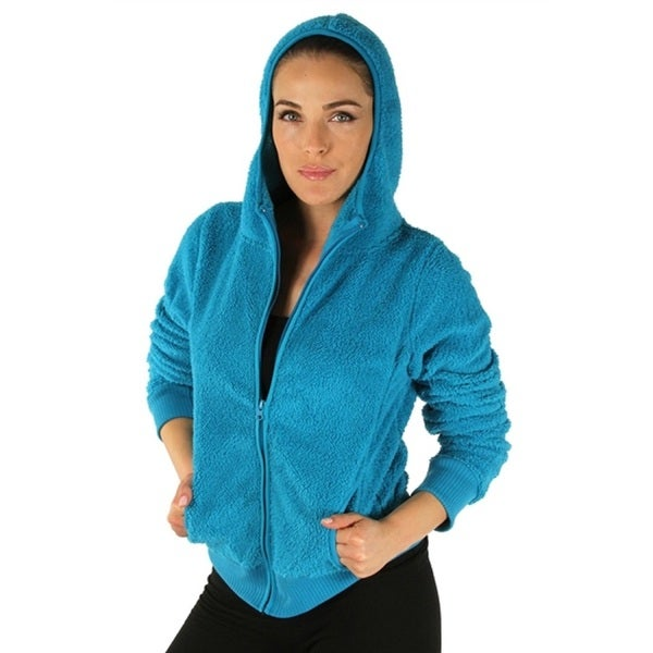 Turquoise Women's Hooded Fleece Jacket with Zipper