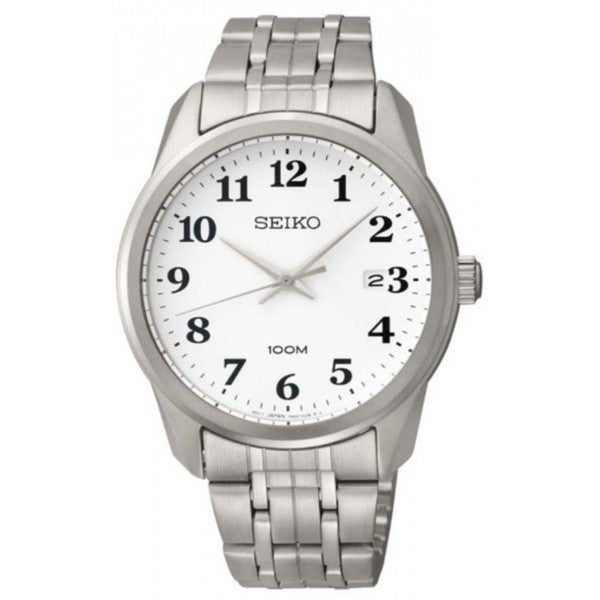 Seiko Men's SGEG15 Stainless Steel Classic Style White Dial 100M Water Resistant Watch