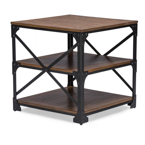 Greyson Vintage Industrial Antique Bronze Occasional End Table / Side Table