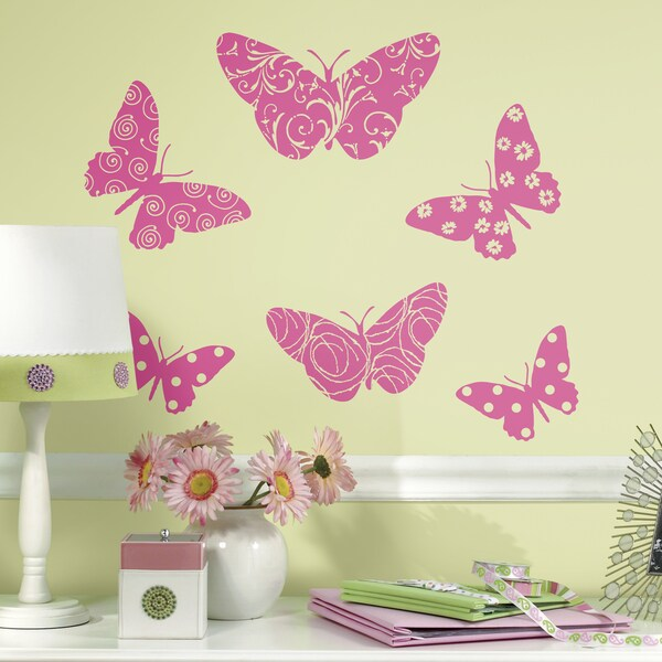 RoomMates Flocked Butterfly Giant Wall Decals 16364401