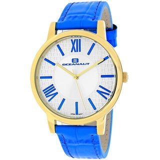 Oceanaut Women's OC7214 Moon Round Blue Leather Strap Watch