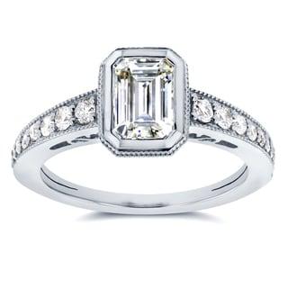 Annello 14k White Gold Emerald Moissanite Bezel and 1/4ct TDW Diamond Ring (G-H, I1-I2)
