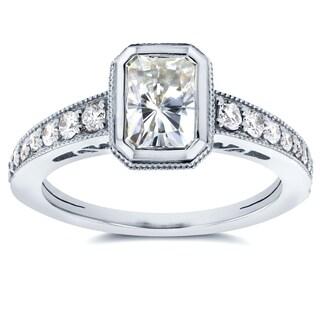 Annello 14k White Gold Radiant Moissanite Bezel and 1/4ct TDW Diamond Engagement Ring (G-H, I1-I2)