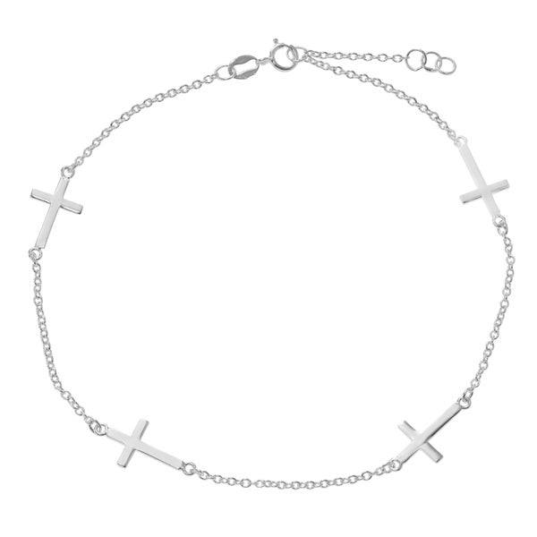 Journee Collection Sterling Silver Cross Chain Anklet