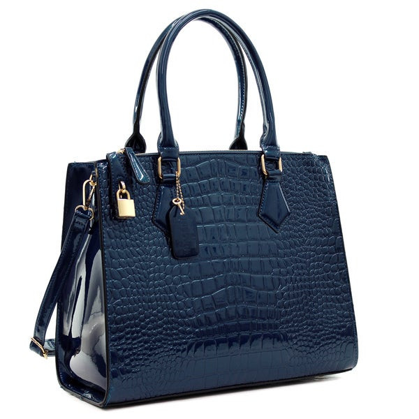 Dasein Patent Faux Leather Croco Embossed Chain Strap Satchel 16364613