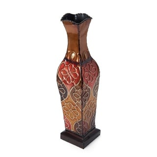 Elements Embossed 17-inch Metal Floral Vase