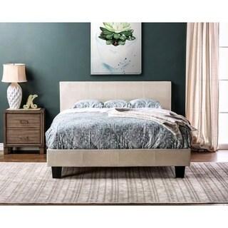 Furniture of America Huntress III Pearl White Crocodile Leatherette Platform Bed