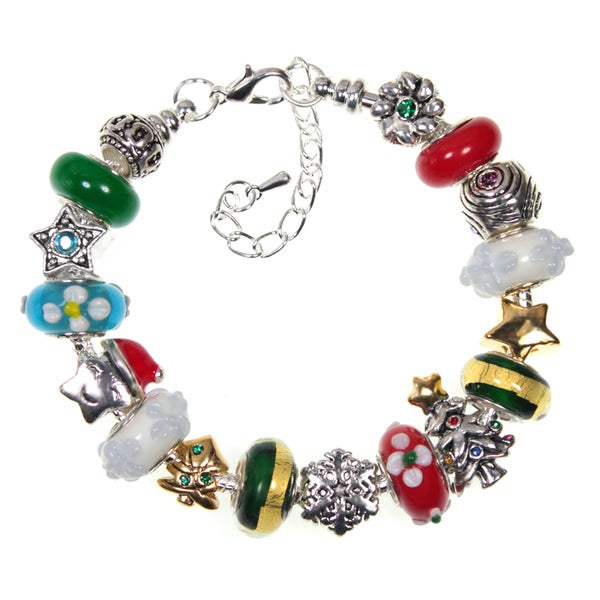 Christmas Tree Star and Snowflake Crystal and Lampwork Glass Bead Holiday Charm Bracelet