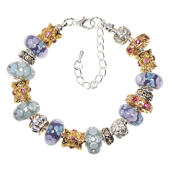 Ava Crystal and Lampwork Glass Bead Two-tone Charm Bracelet