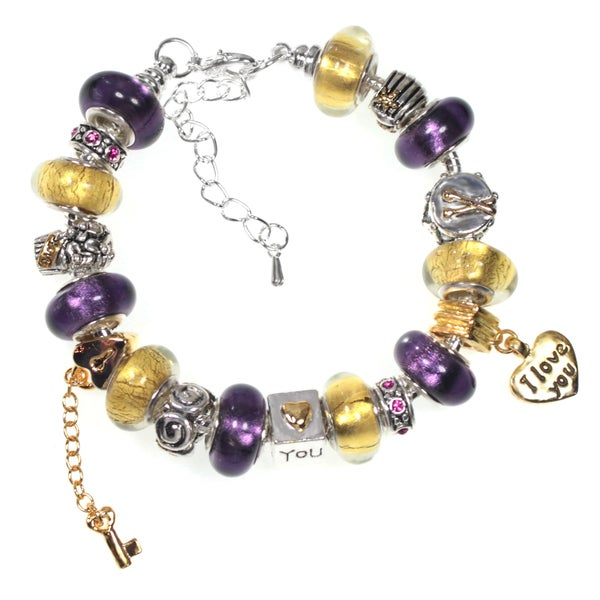 Purple and Gold Foil Glass Bead European Style Charm Bracelet with Love You Heart Dangle